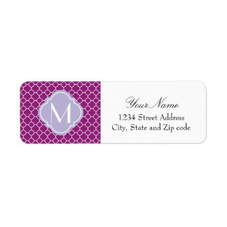 Purple Quatrefoil Pattern with Monogram Return Address Label