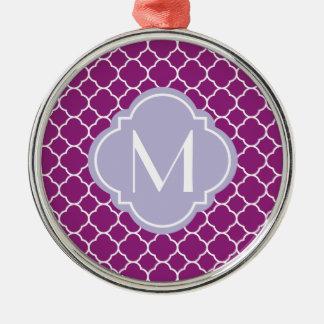 Purple Quatrefoil Pattern with Monogram Silver-Colored Round Decoration