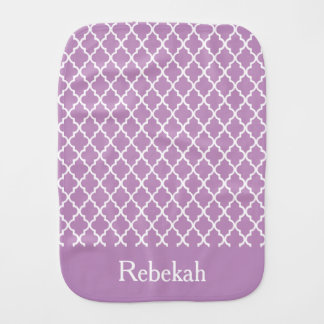 Purple Quatrefoil Personalized Burp Cloth