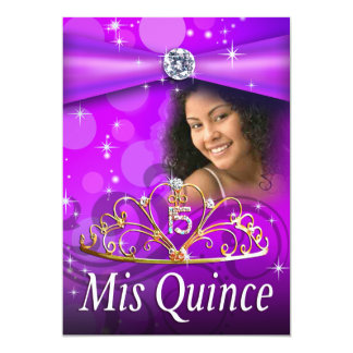 Purple Quinceanera 15 Princess Tiara  Photo Personalized Announcements