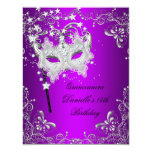 Purple Quinceanera 15th Birthday Masquerade 11 Cm X 14 Cm Invitation Card