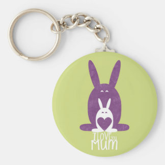 Purple rabbit mom key chains