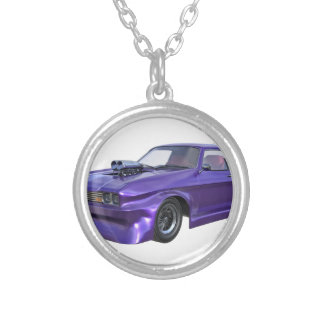 Purple Racing Car Silver Plated Necklace