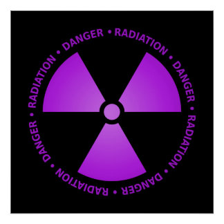 Purple Radiation Symbol Poster