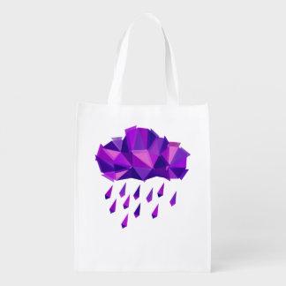 Purple Rain Contemporary Geometry Reusable Grocery Bag