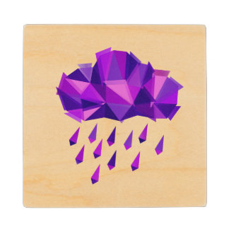 Purple Rain Contemporary Geometry Wood Coaster
