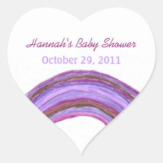 Purple rainbow baby shower sticker