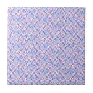 Purple Rainbow Mermaid Pastel Pattern Ceramic Tile