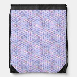 Purple Rainbow Mermaid Pastel Pattern Drawstring Bag