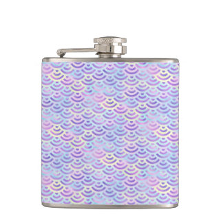 Purple Rainbow Mermaid Pastel Pattern Hip Flask