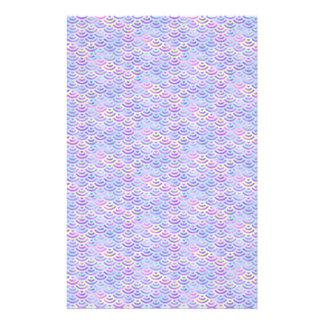 Purple Rainbow Mermaid Pastel Pattern Stationery