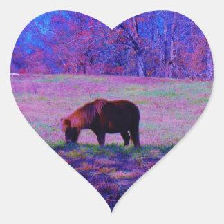 Purple Rainbow Pony Heart Sticker