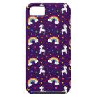 Purple rainbow unicorn hearts stars pattern tough iPhone 5 case
