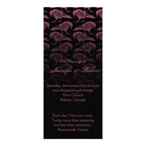 Purple Raven Gothic Wedding Program Customized Rack Card