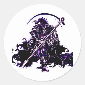 purple reaper round sticker