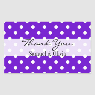 Purple Rectangle Custom Polka Dotted Thank You Rectangular Sticker