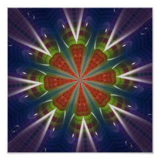 Purple Red and Green Fractal Art Poster Print