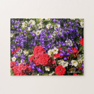 Purple, Red, and White Annual Flowers Jigsaw Puzzle