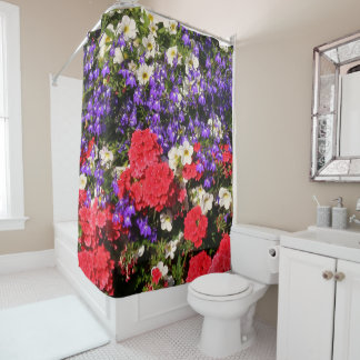 Purple, Red, and White Annual Flowers Shower Curtain