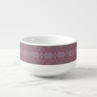 purple red blue paint swirls soup mug
