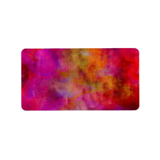 Purple Red Colourful Watercolor Abstract Label