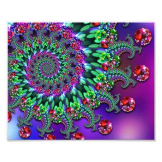 Purple Red & Green Bokeh Fractal Pattern Photograph