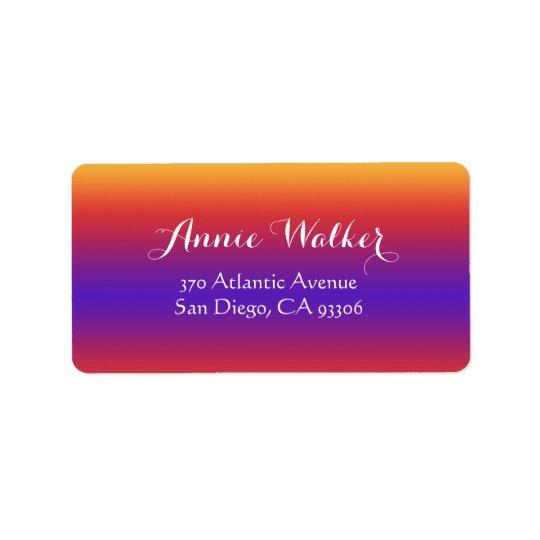 Purple Red Orange Gradient Stripes Address Label