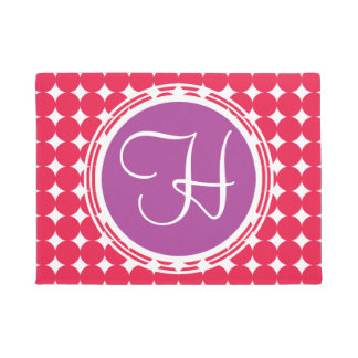 Purple & Red Polka Dot Monogram Doormat