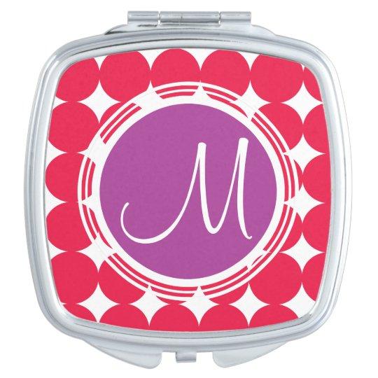 Purple & Red Polka Dot Monogram Mirrors For Makeup