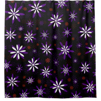 Purple Red White Floral Shower Curtain