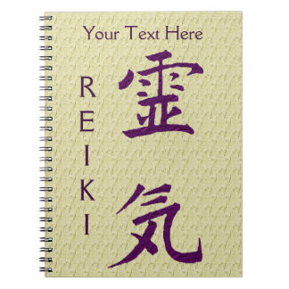 Purple Reiki Symbol Personalised Spiral Note Books