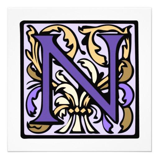 Purple Renaissance Illuminated Manuscript N Announcements