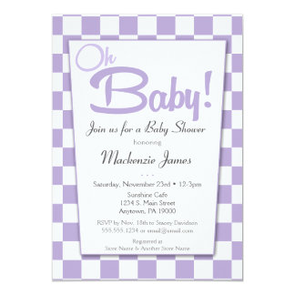 Purple Retro 50s Diner Baby Shower Invitation