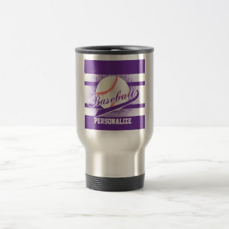 Purple Retro Baseball Style Travel Mug