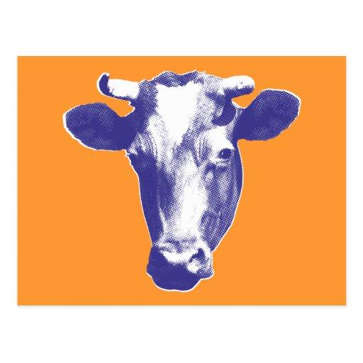 Purple Retro Cow Graphic Post Cards