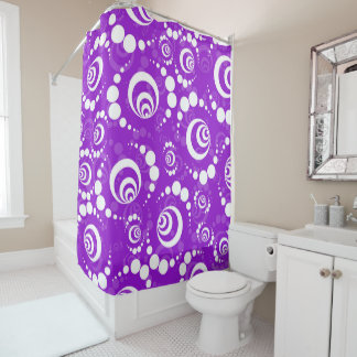 Purple Retro Crop Circle Shower Curtain