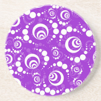 Purple Retro Crop Circles Beverage Coasters