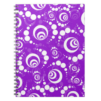 Purple Retro Crop Circles Note Books