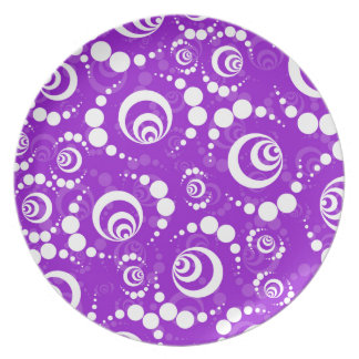 Purple Retro Crop Circles Party Plate