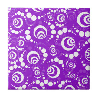 Purple Retro Crop Circles Small Square Tile