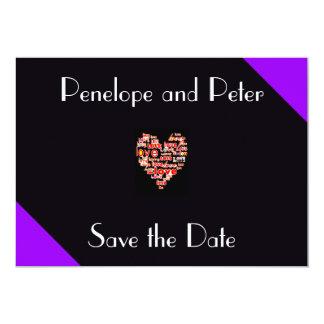 Purple Retro Elegant Heart of Love Black and White 13 Cm X 18 Cm Invitation Card