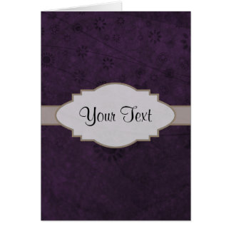 Purple Retro Floral Abstract Nameplate Note Card