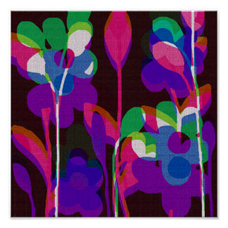 Purple Retro Floral Canvas Print