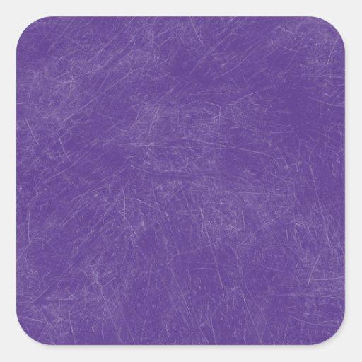 Purple Retro Grunge Scratched Texture Square Stickers