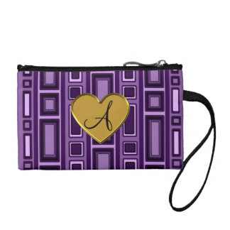 Purple retro squares monogram coin purse