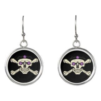 Purple Rhinestone Eyes Skull Earrings - Jewelry