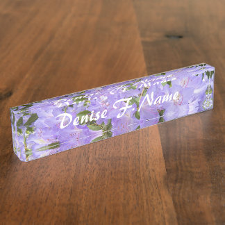 Purple Rhododendrons Floral Desk Name Plate
