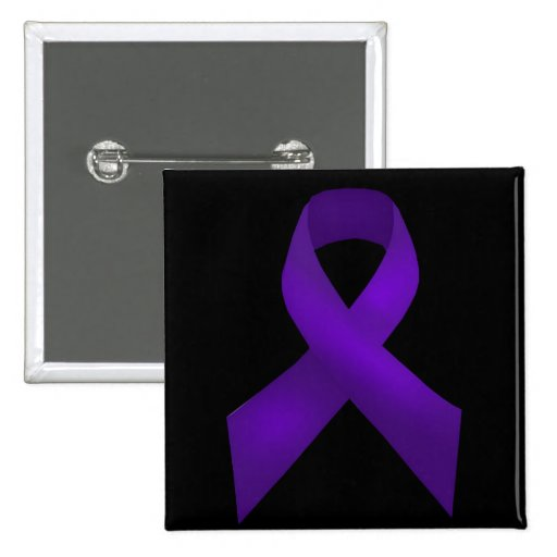Purple Ribbon Awareness Lupus Pinback Buttons
