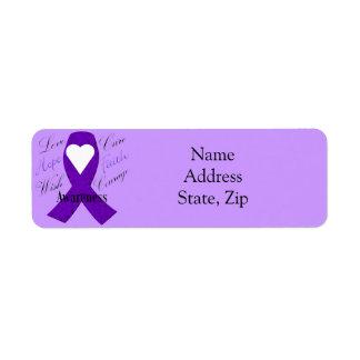 Purple Ribbon  Awareness Ribbon labels