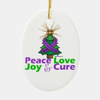Purple Ribbon Christmas Peace Love, Joy & Cure Christmas Tree Ornament